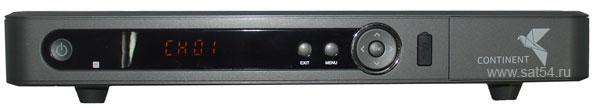 Ресивер Continent CHD-02/IR. Вид спереди. Разъем USB. Крышка картоприемника.