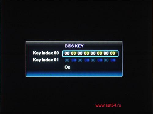 www.sat54.ru Цифровой спутниковый ресивер Golden Interstar S2030. Меню. Ввод ключа BISS.