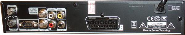 www.sat54.ru Цифровой спутниковый ресивер Golden Interstar S2030. Вид сзади.