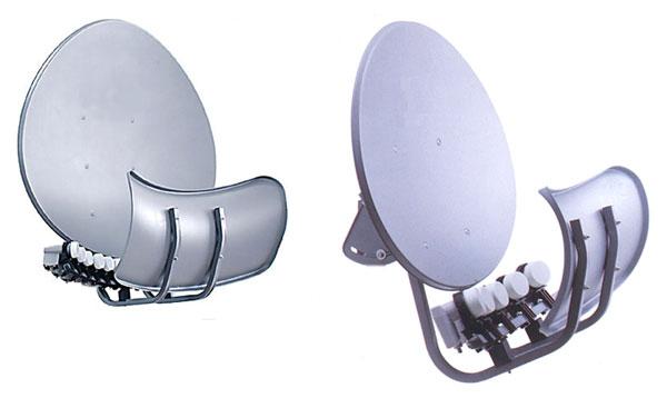 Антенна MULTI Toroidal T90PM-G+U60-4 использует два рефлектора, один из которых принимает сигнал со спутника и отражает на второй рефлектор, который в свою очередь переотражает сигнал на сам конвертер, на антенну очень просто добавлять новые конвертера, при этом качество приёма на разные спутники одинаково хорош.
