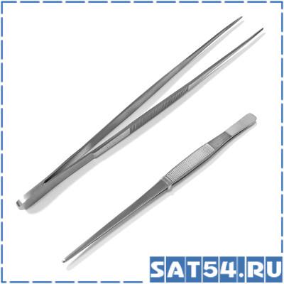 Пинцет прямой 250 мм (Хир.сталь)