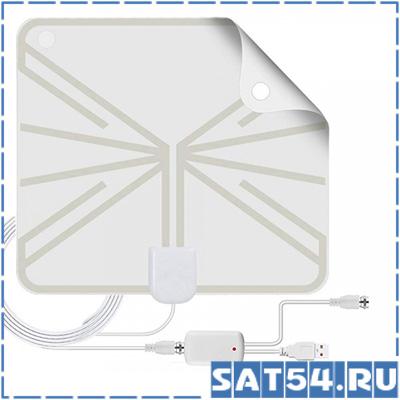 Антенна комнатная ТВ TD-017 активная цифровая (МВ-ДМВ/DVB-T2/25дБ/пит. от USB/кабель 3м/25*22см)