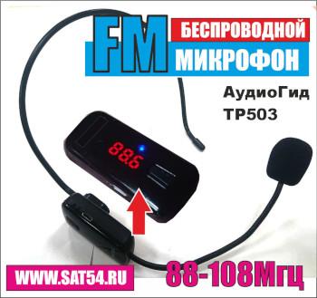 """Беспроводной ФМ микрофон.""""АудиоГид ТР503"""" Из обзора на сайте www.sat54.ru в Новосибирске"""