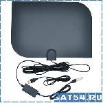 Антенна комнатная ТВ TD-018 активная цифровая (МВ-ДМВ/DVB-T2/25дБ/пит. от USB/кабель 3м/чёрная- белая/32*23см)