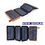 """Мощный Power Bank (внешний аккумулятор) 10.000мА \""""3в1\"""" с 4мя солнечными батареями и LED фонарем."""